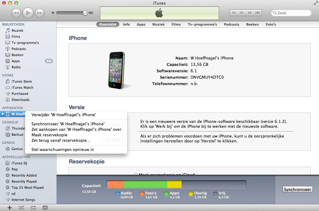 reservekopie overzetten naar nieuwe iphone