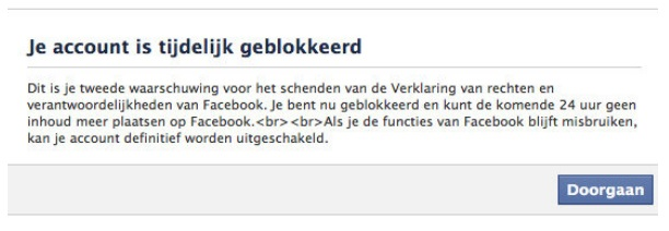 Facebook Account Geblokkeerd